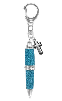 Bling Pen with Cross, Turquoise  -