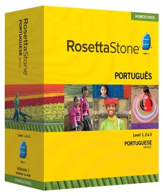 Rosetta Stone Brazilian Portuguese Level 1,2 & 3 Set with Audio Companion Homeschool Edition, Version 3  -