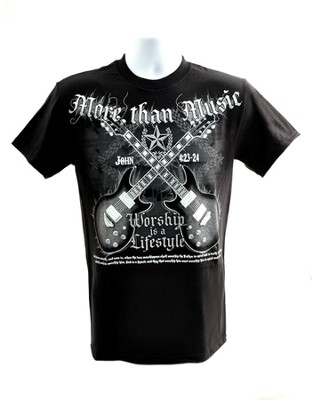 Rock Guitar, More Than Music Shirt, Black, Large  -