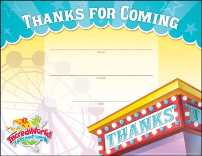 IncrediWorld Amazement Park Visitor Appreciation  Certificates (Pack of 10)  -