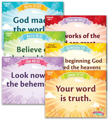 IncrediWorld Amazement Park VBS Toddler Memory Verse Posters (NKJV Version; Set of 6)  -