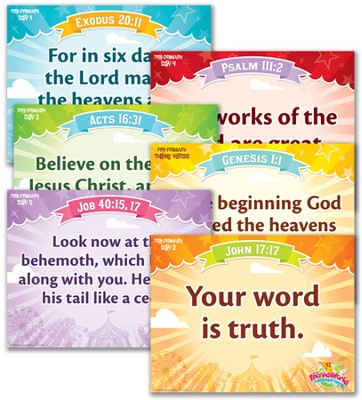 IncrediWorld Amazement Park VBS Pre-Primary Memory Verse Posters (KJV Version; Set of 6)  -