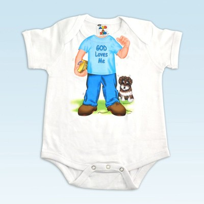God Loves Me Romper, Boy, 12 Months   -