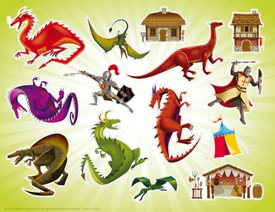 Kingdom Chronicles Dragons sticker sheet with picture (pack of 10)  -