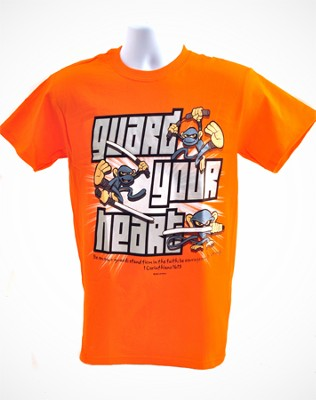 Guard Heart Shirt, Orange, Medium   -