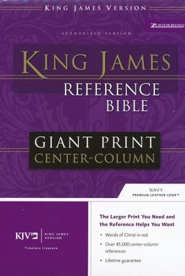 KJV Giant Print, Center-Column Reference Bible Imitation Leather, Navy Blue  -