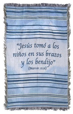 Children's Throw Blanket, Blue, Spanish  -