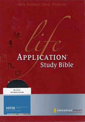 NIV Life Application Study Bible, Revised, Top Grain leather, black - Slightly Imperfect  -