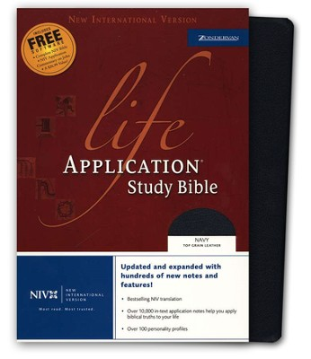NIV Life Application Study Bible, Revised, Top Grain leather, navy 1984, Case of 12  -