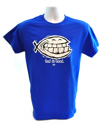 God Is Good Smiley Shirt, Blue, 4X-Large   -