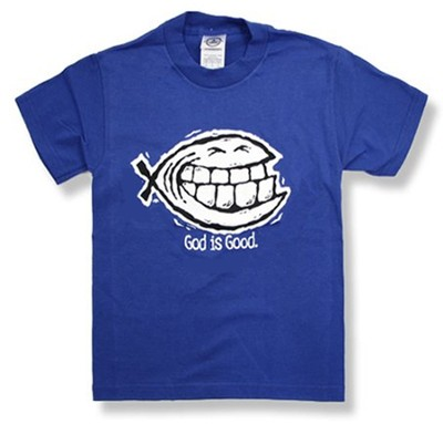 God Is Good/Smiley Ichthus T-Shirt, Royal Blue, Youth Medium   -