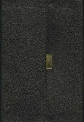 NIV Compact Thinline Reference Bible Button Flap, bonded black 1984  -