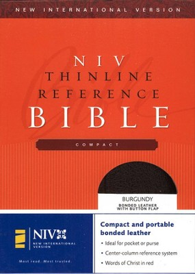 NIV Compact Thinline Reference Button Flap, bonded burgundy 1984  -