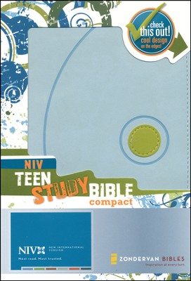 NIV Teen Study Compact, Italian Duo-Tone Mist Blue/Kiwi 1984 - Imperfectly Imprinted Bibles  -