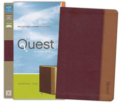 NIV Quest Study Bible, Personal Size: The Question and Answer Bible, Imitation Leather, Burgundy Tan  -