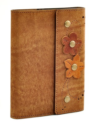 Leather Flower Journal, Brown  -