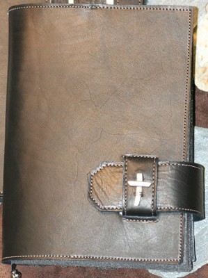 Leather Bible Cover with Cross, Black, Large  -