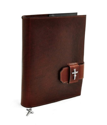 Leather Bible Cover with Cross, Burgundy, Large  -