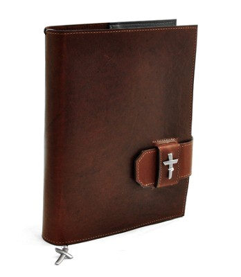 Leather Bible Cover with Cross, Burgundy, Extra Large  -