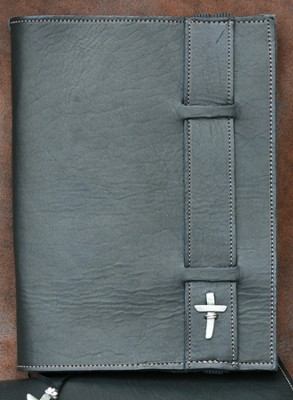 Strap Leather Bible Cover, Black, Large  -