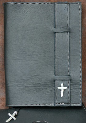 Strap Leather Bible Cover, Black, XX Large  -