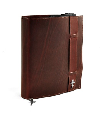 Strap Leather Bible Cover, Burgundy, Large  -