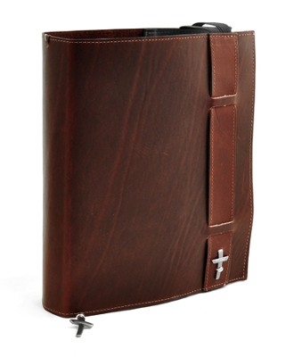 Strap Leather Bible Cover, Burgundy, XX Large - Slightly Imperfect  -