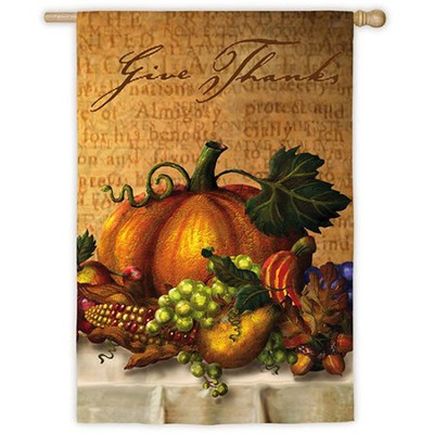 Give Thanks, Large Suede Flag  -     By: Bart Wolf, Marilyn Wolf