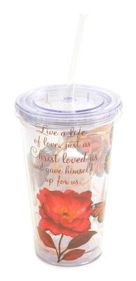Insulated Tumbler with Straw. Ephesians 5:2  -