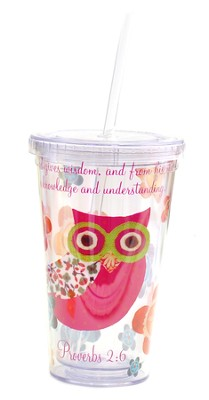 Insulated Tumbler with Straw. Proverbs 2:6  -