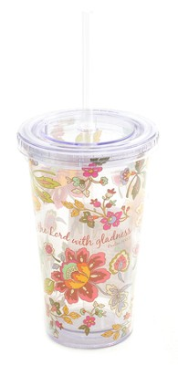 Insulated Tumbler with Straw. Psalm 100:2  -