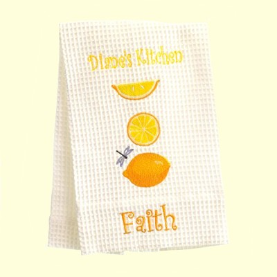 Personalized, Faith Kitchen Towel, With Lemons   -