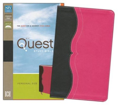 NIV Quest Study Bible, Personal Size: The Question and Answer Bible Charcoal, Imitation Leather, Pink - Imperfectly Imprinted Bibles  -