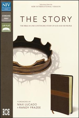 The Story, NIV: The Bible as One Continuous Story of God and His People, Italian Duo-Tone, Chocolate/Tan - Imperfectly Imprinted Bibles  -