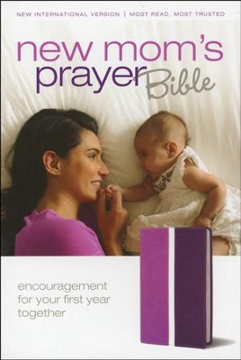 NIV New Mom's Prayer Bible: Encouragement for Your First Year Together, Italian Duo-Tone Dark Orchid/Plum 1984 - Slightly Imperfect  -