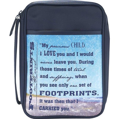 Footprints Bible Cover, Blue, Medium  -