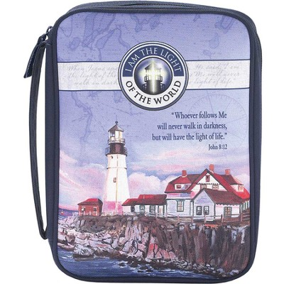 I Am the Light Of the World Bible Cover, Navy, Medium  -