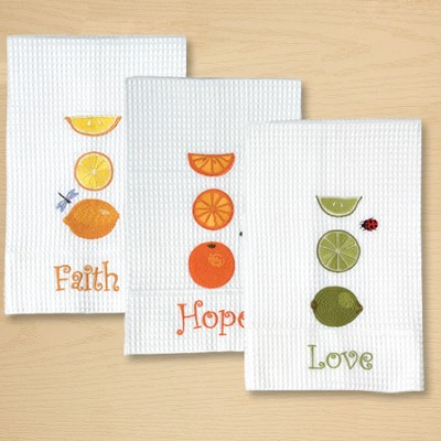 Kitchen Towels, Set of 3; Faith, Hope, Love   -