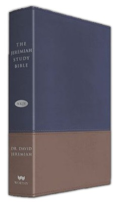 NKJV Jeremiah Study Bible, Soft leather-look, Navy/tan (indexed)  -     By: David Jeremiah