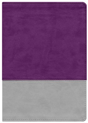 NKJV The Jeremiah Study Bible, LeatherLuxe &#153 Gray/Purple  -     By: David Jeremiah