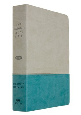 NKJV Jeremiah Study Bible, Soft leather-look, Gray/teal (indexed)  -     By: David Jeremiah