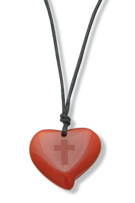 Heart Pendant with Cross, Amber   -