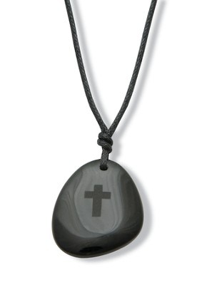 Teardrop Pendant with Cross, Black   -