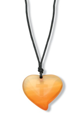 Heart Pendant with Cross, Orange   -