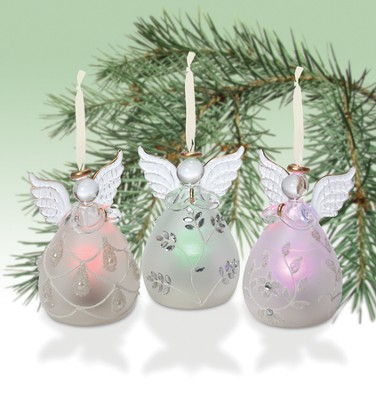 Colorful Lighted Angel Ornaments, Set of 3   -