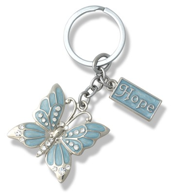 Hope, Butterfly Key Chain, Blue   -