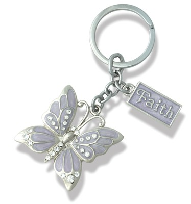 Faith, Butterfly Key Chain, Purple   -