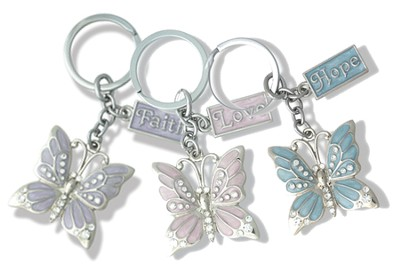 Set of 3 Butterfly Key Chains, Faith, Hope, & Love   -