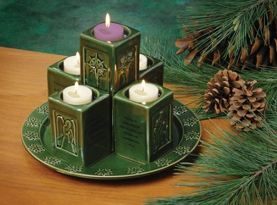 Ceramic Pillar Advent Wreath  - Slightly Imperfect  -