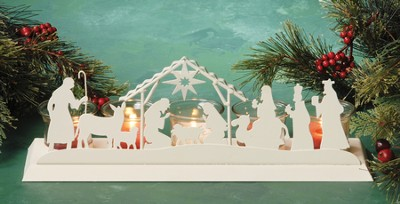 Nativity Silhouette Advent Candle Holder   -